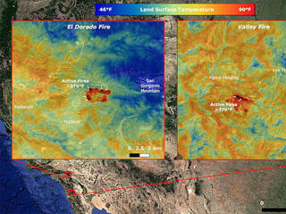 NASA's ECOSTRESS Takes Surface Temperature Around California Fires