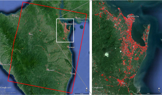 Damage map (40 by 50 km) showing the region near Tacloban City, where the massive storm made landfall. The image was made using synthetic aperture radar data from the Italian Space Agency's COSMO-SkyMed satellite constellation, processed by JPL's Advanced Rapid Imaging and Analysis (ARIA) team. Most of the damage and initial loss of life in Tacloban City was the result of a punishing 12- to 20-foot-high storm surge that were quite far inalnd, along with powerful winds near the coast.