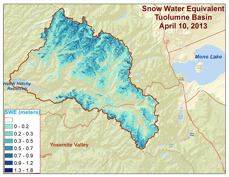 Spatial distribution of snow water equivalent across the Tuolumne River Basin on April 10, 2013 as measured by NASA's Airborne Snow Observatory. Image credit: NASA/JPL-Caltech
