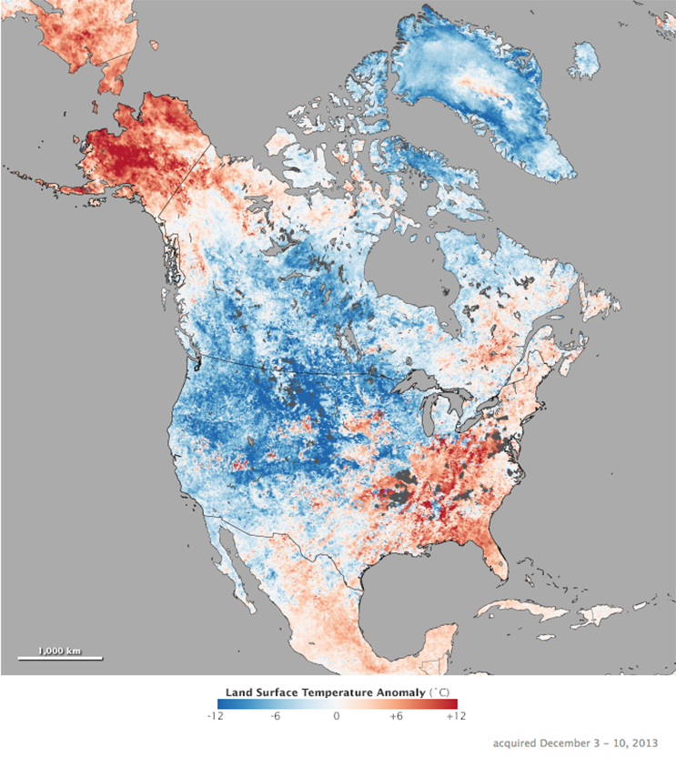 Images by Jesse Allen, NASA's Earth Observatory using data courtesy of the MODIS Land Group. Additional land surface temperature anomaly images available on NASA Earth Observations.