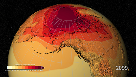 A new NASA study suggests that projections of Earth's future warming should be more in line with previous estimates that indicated a higher sensitivity to increasing greenhouse gas emissions.  Image Credit: NASA SVS/NASA Center for Climate Simulation