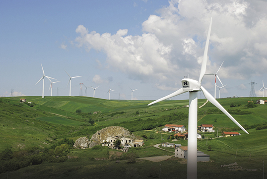 Northern Power wind turbines pepper the landscape in Bisaccia, Italy.