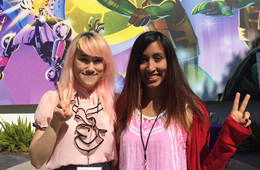 Aein Hope (left) and Priscilla Rodriguez were among the participants in the latest Game Hackathon at Nickelodeon.