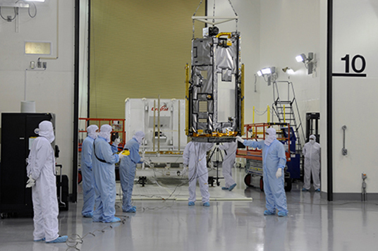 NASA's Orbiting Carbon Observatory-2 (OCO-2) uncrated after arriving at Vandenberg Air Force Base (VAFB). OCO-2, scheduled for a July 1 launch, is the agency's first carbon-counting mission.