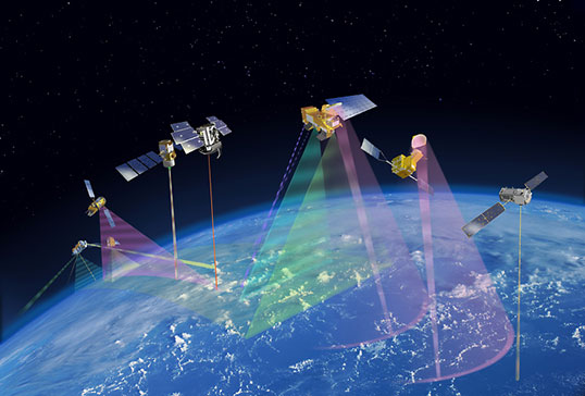 OCO-2 will become the leader of the Afternoon Constellation, or A-Train, as shown in this artist's concept. Japan's Global Change Observation Mission - Water (GCOM-W1) satellite and NASA's Aqua, CALIPSO, CloudSat and Aura satellites follow. Credit: NASA