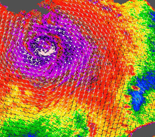 A 2005 image of Hurricane Katrina in the Gulf of Mexico from NASA's QuikScat scatterometer shows the kind of ocean-wind data that ISS-RapidScat will provide. In this image, the highest wind speeds are shown in purple and barbs indicate wind direction. Credit: NASA/JPL-Caltech