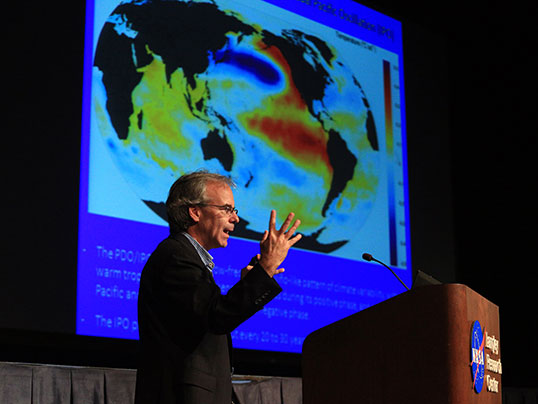 "Norman Loeb, an atmospheric scientist at NASA's Langley Research Center, recently gave a talk on the ""global warming hiatus,"" a slowdown in the rise of the global mean surface air temperature. He does not believe the hiatus will develop into something permanent. Credit: NASA/David C. Bowman"