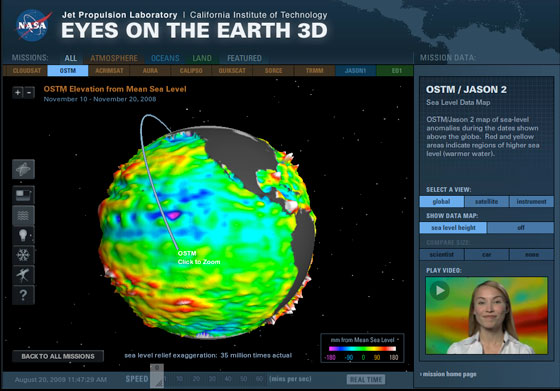 "Enhanced capabilities of NASA's ""Eyes on the Earth"" visualization tool include displays of the recent data maps of ozone, sea level or carbon dioxide and a video tour."