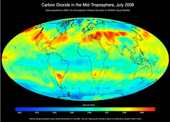 Map of global carbon dioxide transport acquired by the Atmospheric Infrared Sounder instrument (AIRS) on NASA's Aqua satellite during July 2009.