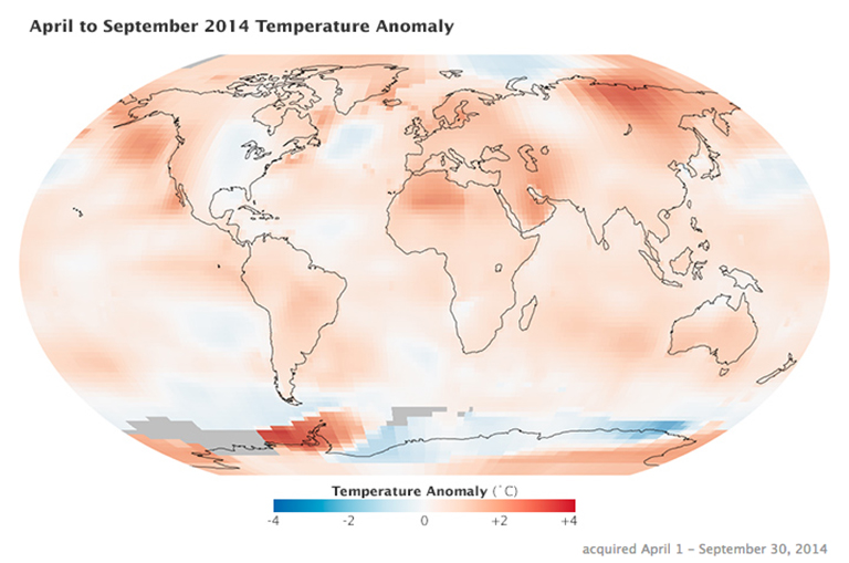 April to September 2014 temperature anomaly vizualization based on data from NASA's Goddard Institute for Space Studies. Credit: Kevin Ward/NASA's Earth Observatory
