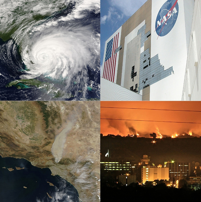 Climate-related extreme events such as hurricanes, sea level rise, and wildfires are expected to increase in the future and pose hazards to NASA infrastructure. Credit: NASA