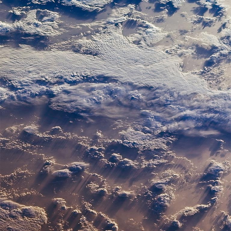 Clouds over the southern Indian Ocean. This image was acquired by one of the northward-viewing cameras of the Multi-angle Imaging SpectroRadiometer (MISR) instrument on NASA's polar-orbiting Terra spacecraft. Credit: NASA