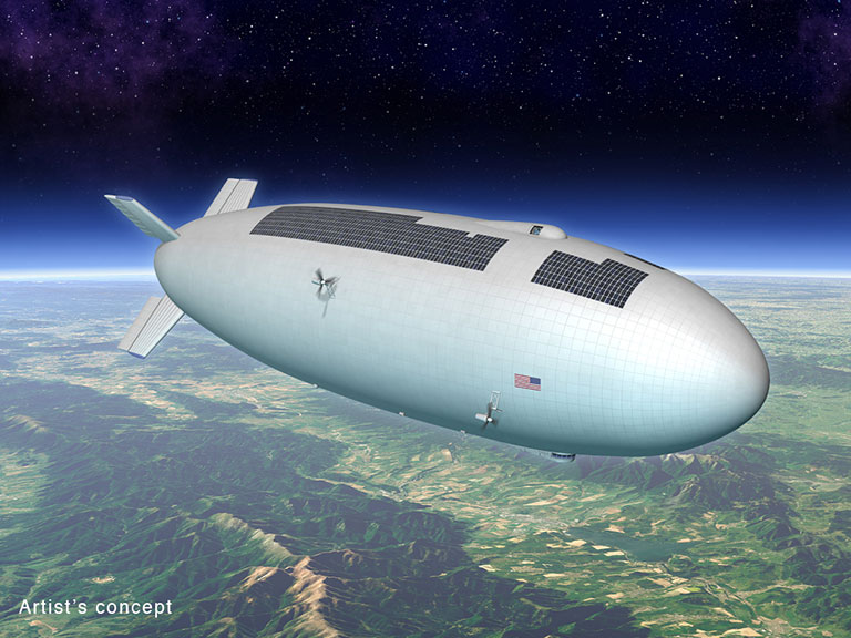 Artist's concept for a high-altitude, long-duration airship that could be used as a research platform or for commercial purposes. Credit: M. Hughes/Eagre Interactive/Keck Institute for Space Studies