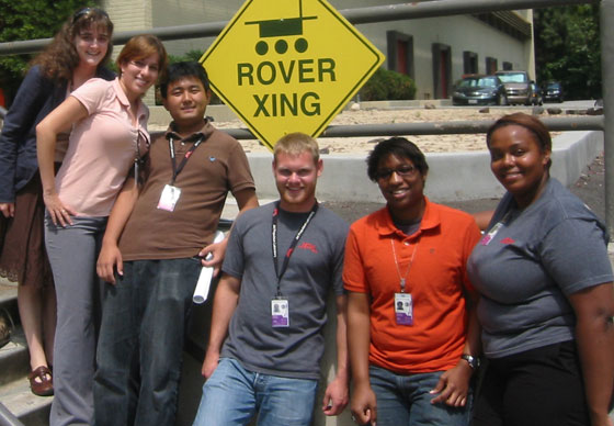 The summer 2008 HyspIRI Space Grant students, from left to right: Christine Hartzell, Jennifer Carpena-Nuñez, Tony Tao, Dave Racek, Lindley Graham, Christianna Taylor.