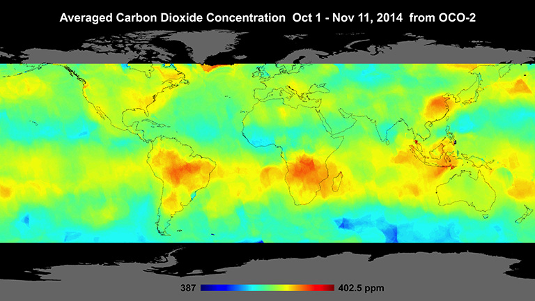 Global atmospheric carbon dioxide concentrations from Oct. 1 through Nov. 11, as recorded by NASA's Orbiting Carbon Observatory-2. Carbon dioxide concentrations are highest above northern Australia, southern Africa and eastern Brazil. Credit: NASA/JPL-Caltech. Full image and caption.
