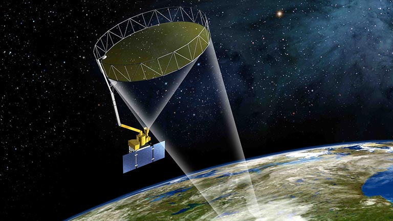 Artist's rendering of the SMAP instrument. Credit: NASA. View larger image.