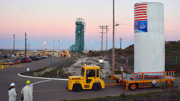 Last week, NASA's Soil Moisture Active Passive satellite was transported across Vandenberg Air Force Base in California to Space Launch Complex 2, where it will be mated to a Delta II rocket for launch. Credit: NASA/Randy Beaudoin. View full image and caption.