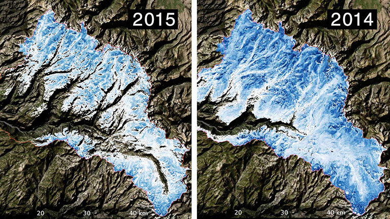 Spatial distribution of the total volume of water in the snowpack across the Tuolumne River Basin on March 25, 2015 (left) and April 7, 2014 (right) as measured by NASA's Airborne Snow Observatory. Credit: NASA/JPL-Caltech. View larger image.