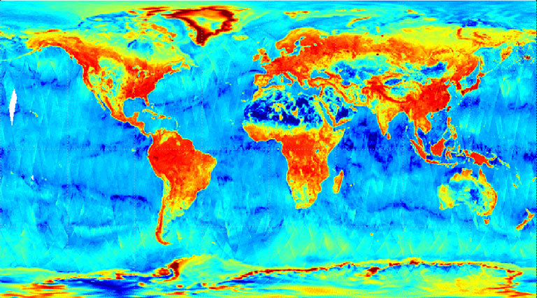 SMAP radar image acquired from data from March 31 to April 3, 2015. Weaker radar signals (blues) reflect low soil moisture or lack of vegetation, such as in deserts. Strong radar signals (reds) are seen in forests. SMAP's radar also takes data over the ocean and sea ice. Credit: NASA/JPL-Caltech/GSFC. View larger, more detailed image.