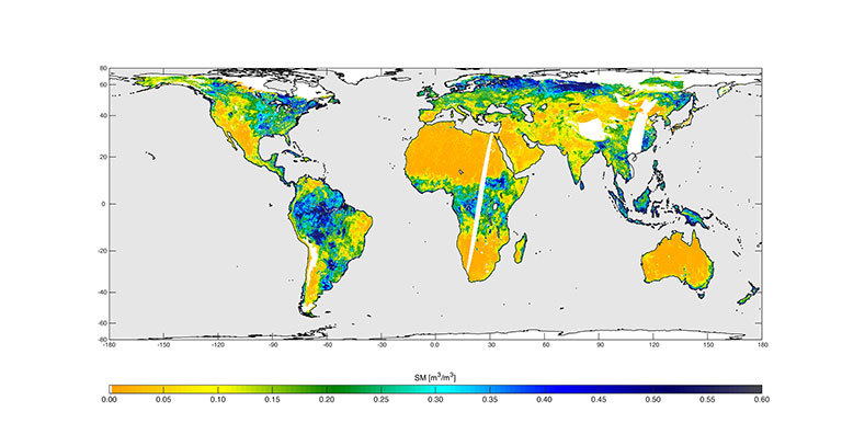 High-resolution global soil moisture map from SMAP's combined radar and radiometer instruments, acquired between May 4 and May 11, 2015, during SMAP's commissioning phase. The map has a resolution of 5.6 miles (9 kilometers). Credit: NASA/JPL-Caltech/GSFC. View larger image.