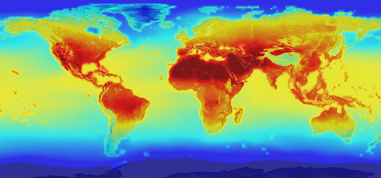 The new NASA global data set combines historical measurements with data from climate simulations using the best available computer models to provide forecasts of how global temperature (shown here) and precipitation might change up to 2100 under different greenhouse gas emissions scenarios. Credit: NASA. View larger image.