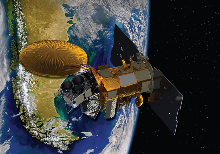 Artist's concept of the Aquarius/SAC-D spacecraft, a collaboration between NASA and Argentina's space agency, with participation from Brazil, Canada, France and Italy. Aquarius, the NASA-built primary instrument on the spacecraft, will take NASA's first space-based measurements of ocean surface salinity, a key missing variable in satellite observations of Earth that links ocean circulation, the global balance of freshwater and climate. Credit: NASA. View larger image.