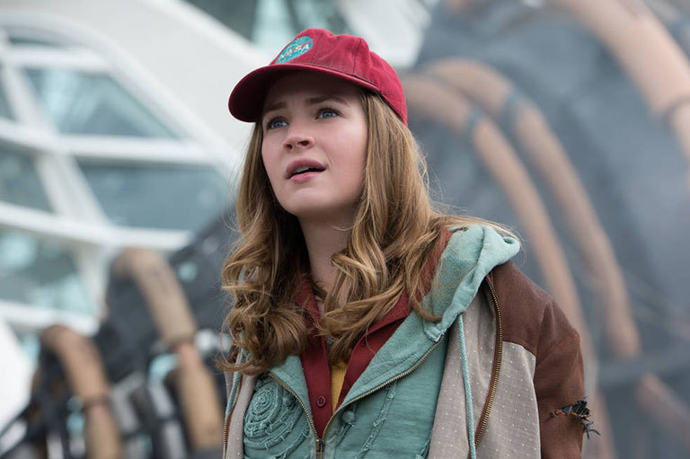 Main character Casey Newton marvels at the wonders of Tomorrowland as portrayed in the film. Credit: Disney. View larger image.