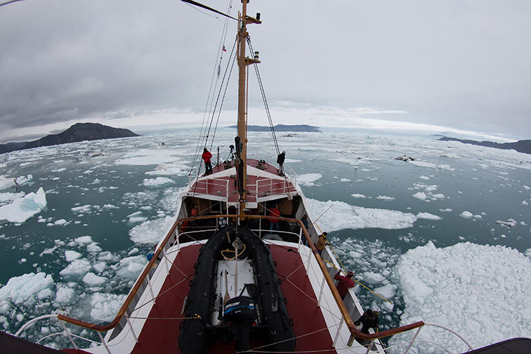 Glaciologists from the University of California, Irvine, and JPL mapped remote Greenland fjords by ship in 2014. Their findings show that Greenland's glaciers are likely to be melting faster than previously thought. Credit: UCI/Maria Stenzel. View larger image.