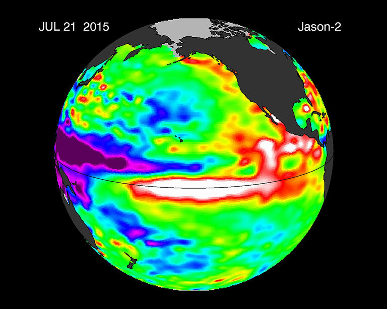 This image is a 10-day average of sea surface height anomaly data from the OSTM/Jason-2 satellite, centered on July 21, 2015. The difference between what we see and what is normal for different times and regions are called anomalies or residuals. Green indicates normal sea level heights, while yellow and red indicate areas that are higher than normal. Credit: NASA. View larger image.