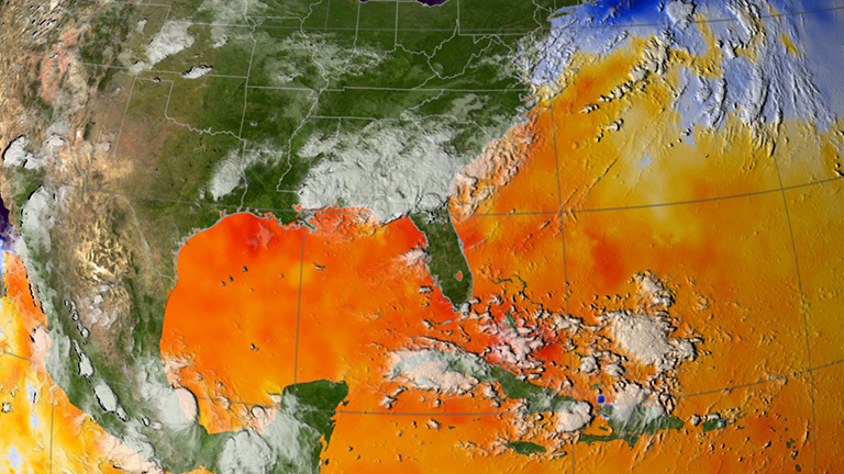 This map of ocean surface temperatures shows how warm waters in the North Atlantic fueled Hurricane Katrina. NASA and UCI researchers have found that the same conditions heighten fire risk in the Amazon basin. Credit: Scientific Visualization Studio, NASA's Goddard Space Flight Center