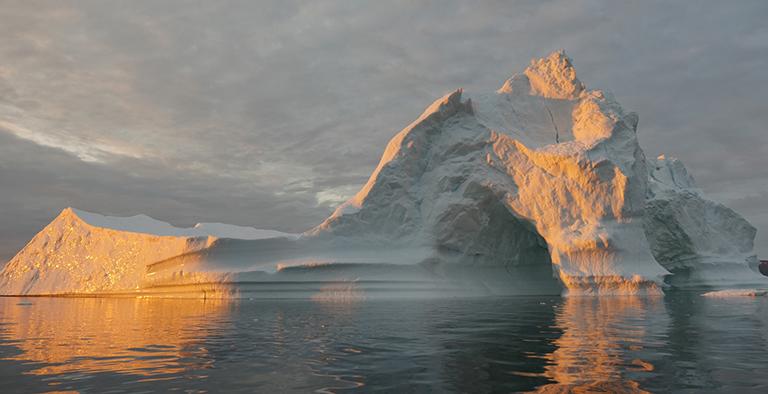 an iceberg floats in disko bay near ilulissat greenland on july 24