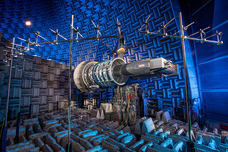 A jet engine in the AeroAcoustic Propulsion Laboratory at NASA's Glenn Research Center. Credit: NASA's Glenn Research Center