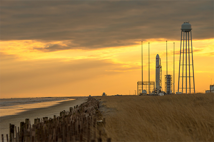 The beaches and dunes alongside launch facilities in Wallops Island, Virginia, have been built up, washed away, and built up again several times in the past decade. Acquired January 6, 2014. (Photo by NASA/Bill Ingalls)