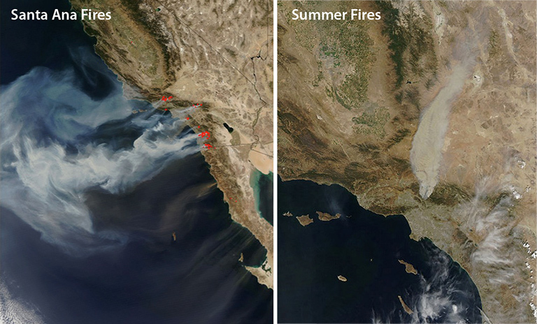 An October 2007 image, left, of Southern California wildfires shows how offshore Santa Ana winds control these events. Wind is less likely to dominate summer fires like the 2009 Station Fire, right. Images from the Moderate Resolution Imaging Spectrometer on NASA's Aqua satellite. Credit: NASA