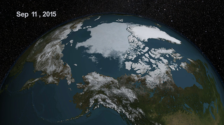 Arctic sea ice reaches fourth lowest extent in the satellite record – Climate Change: Vital Signs of the Planet
