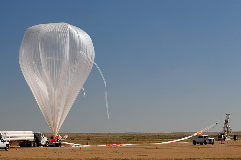 The balloon launch at Fort Sumner, New Mexico, carrying Langley Research Center's Radiation Dosimetry Experiment (RaD-X). Credit: Brett Vincent, NASA's Wallops Flight Facility