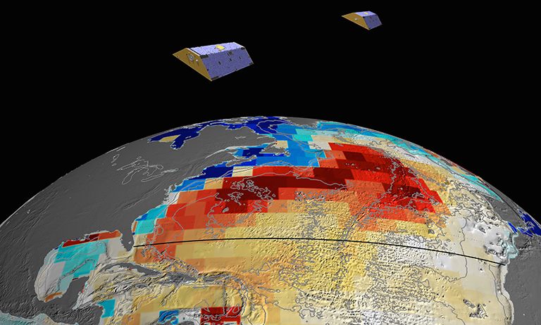 NASA's GRACE satellites (artist's concept) measured Atlantic Ocean bottom pressure as an indicator of deep ocean current speed. In 2009, this pattern of above-average (blue) and below-average (red) seafloor pressure revealed a temporary slowing of the deep currents. Credit: NASA/JPL-Caltech