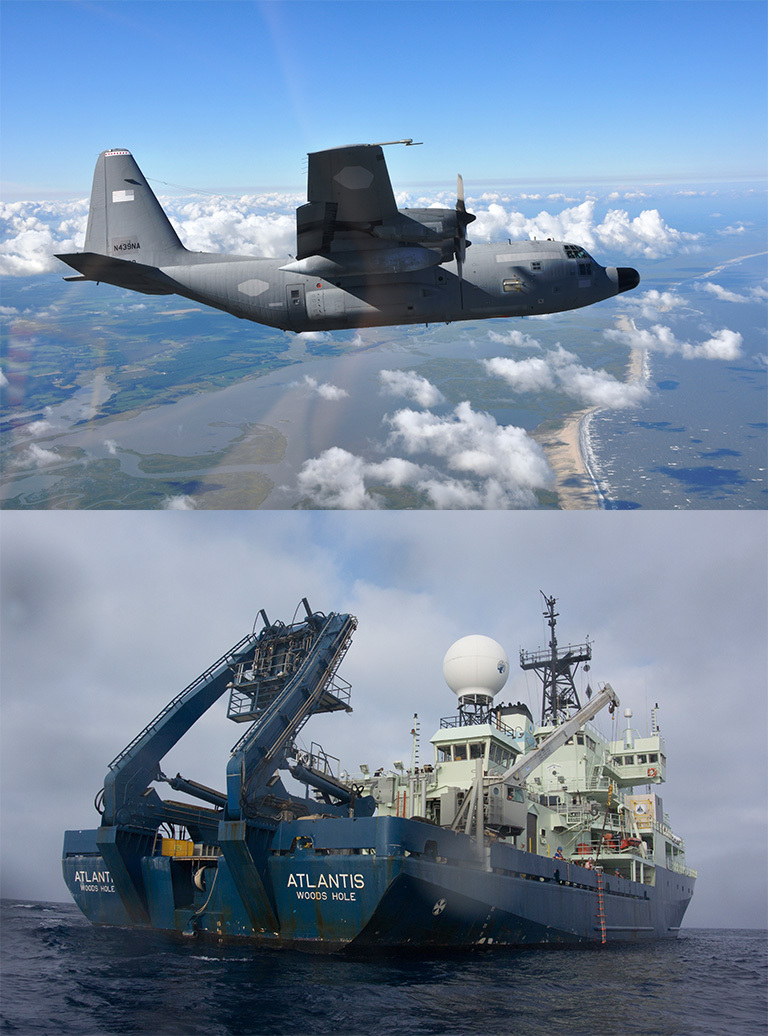 Top image: NASA's C-130H Hercules airborne laboratory begins research flights over the North Atlantic Nov. 12 from St. John's, Newfoundland, Canada, the agency's North Atlantic Aerosols and Marine Ecosystems Study (NAAMES). Credit: NASA.  Bottom image: The research vessel Atlantis, operated by the Woods Hole Oceanographic Institution, will provide detailed ship-based measurements of plankton in the North Atlantic as part of the North Atlantic Aerosols and Marine Ecosystems Study (NAAMES). Credit: Woods Hole Oceanographic Institution.