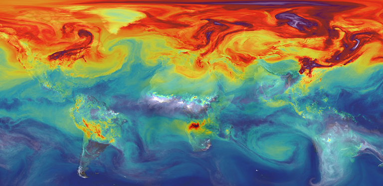 NASA is advancing new tools like the supercomputer model that created this simulation of carbon dioxide in the atmosphere to better understand what will happen to Earth's climate if the land and ocean can no longer absorb nearly half of all climate-warming CO2 emissions. Credit: NASA/GSFC.