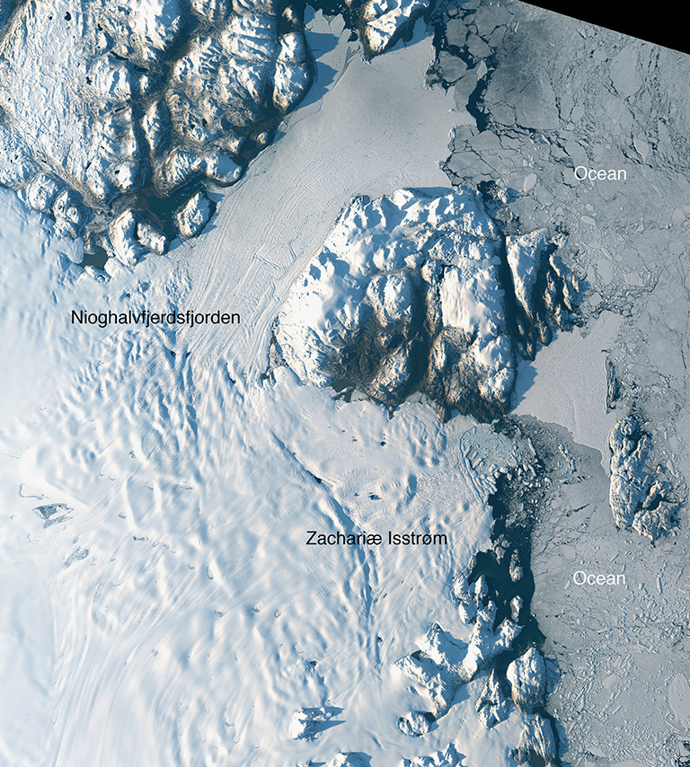 Landsat-8 image of Greenland's Zachariae Isstrom and Nioghalvfjerdsfjorden glaciers, acquired on Aug. 30, 2014. Credit: NASA/USGS.