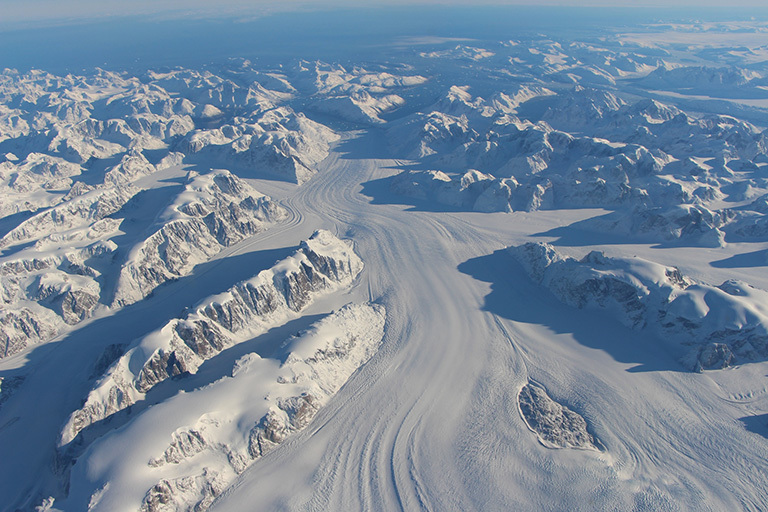 Heimdal Glacier in southern Greenland, in an image captured on Oct. 13, 2015, from NASA Langley Research Center's Falcon 20 aircraft flying 33,000 feet above mean sea level. Credit: NASA/John Sonntag.