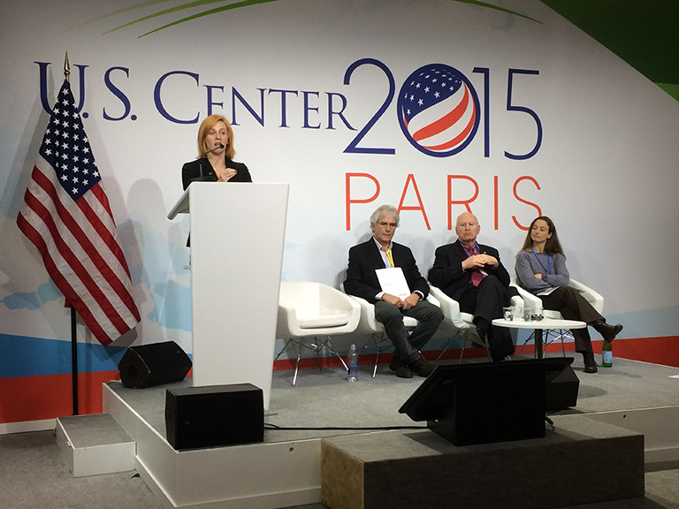 NASA oceanographer Michelle Gierach at the U.N. Conference of the Parties 21 (COP21) U.S. Center in Paris. Credit: NASA.
