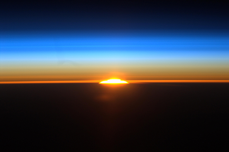 The rising sun as seen from the International Space Station. Credit: NASA.