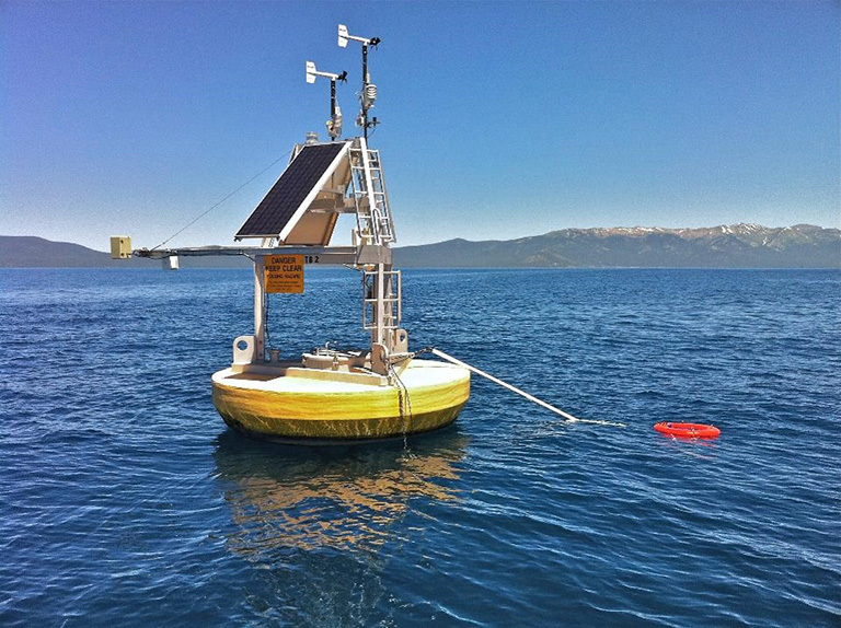 A combination of satellite data and ground measurements, such as from instrumented buoys like this one in Lake Tahoe on the California/Nevada border, were used to provide a comprehensive view of changing lake temperatures worldwide. The buoy measures the water temperature from above and below. Credit: Limnotech.