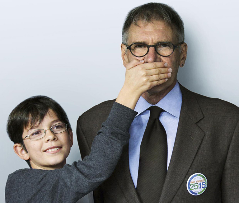 "Plant-for-the-Planet campaign in which the world's children implore adults to ""stop talking, start planting."" Seen here, Felix Finkbeiner with supporter Harrison Ford."