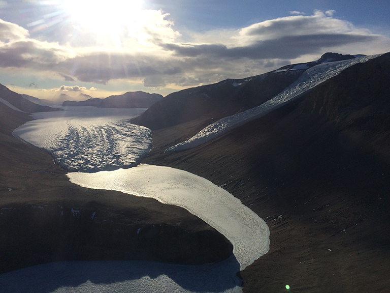 The terminus of Taylor Glacier as seen from the helicopter. Photo by P. Neff.