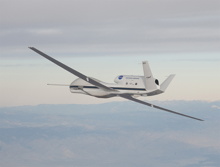 NASA's Global Hawk is part of a mission to track storms developing in the Pacific Ocean to better predict severe West Coast weather. Credit: NASA Photo; Carla Thomas.