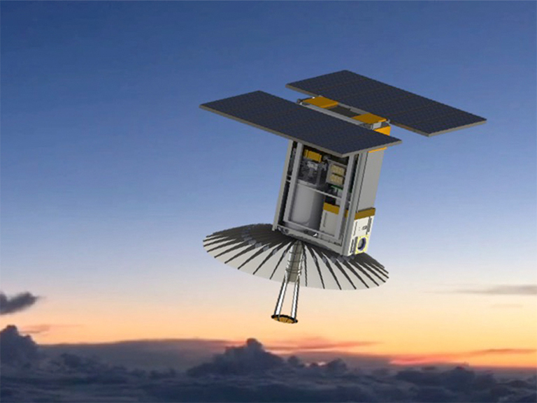 An illustration of RainCube, enabling precipitation observations from space in a CubeSat platform. Credit: RainCube team.