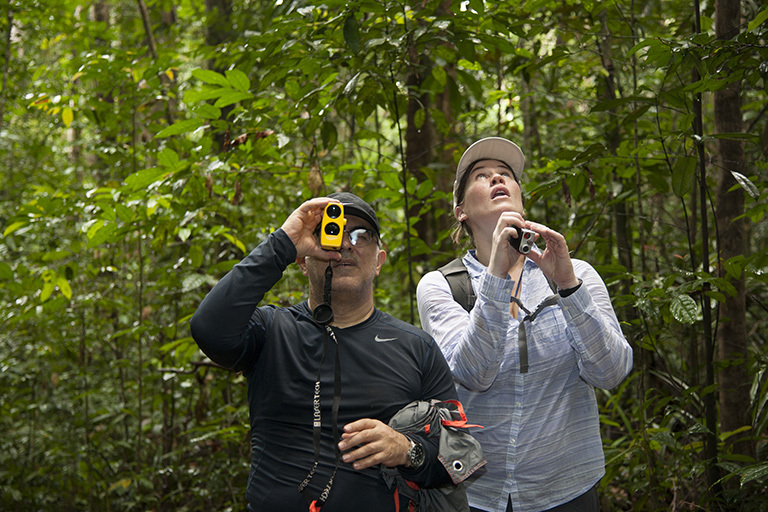 Members of the AfriSAR team, Sassan Saatchi (left) from NASA's Jet Propulsion Laboratory and Laura Duncanson (right) from NASA's Goddard Space Flight Center take measurements of trees in the rainforest in the Mondah National Park, Gabon. Credit: NASA/Carla Thomas.