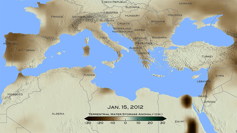 For January 2012, brown shades show the decrease in water storage from the 2002-2015 average in the Mediterranean region. Units in centimeters. The data is from the Gravity Recovery and Climate Experiment, or GRACE, satellites, a joint mission of NASA and the German space agency. Credit: NASA/ Goddard Scientific Visualization Studio.